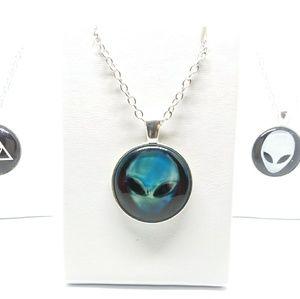 Blue Alien cabochon medallion necklace